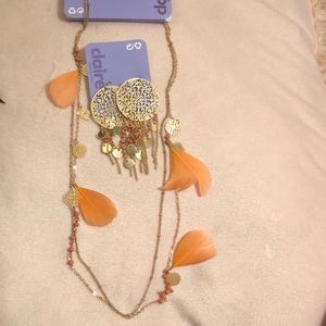 NWT Gold Filigree Feather Multi strand necklace